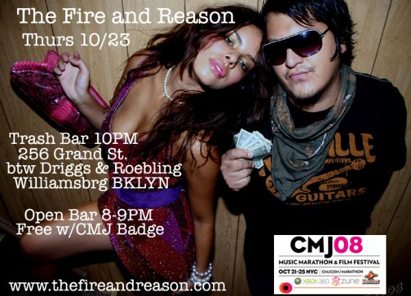 The Fire and Reason, Trash Bar, Oct 23. Open Bar 8-9
